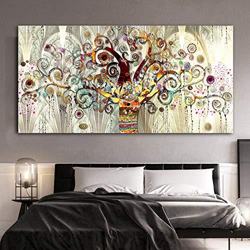 Baum des Lebens Landschaft skandinavische Leinwand Wandkunst Poster drucken Wohnzimmer Moderne Wandbild,Rahmenlose Malerei,75x150cm