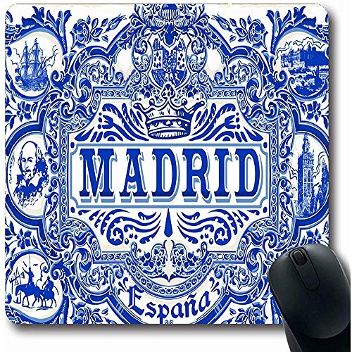 HJJL Alfombrilla de ratón 9.84x 11.8 Inches Mousepad Blue Spain Spanish Ornate...