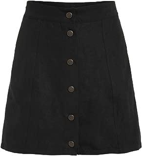 Women's Casual Faux Suede Button Front A Line Mini Skirt