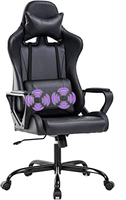 Gaming Chair Office Chair Desk Chair Swivel Rolling High Back PU Leather Executive PC Adjustable Massage Racing Computer Chair with Lumbar Support Headrest Armrest Task Chair(Black)