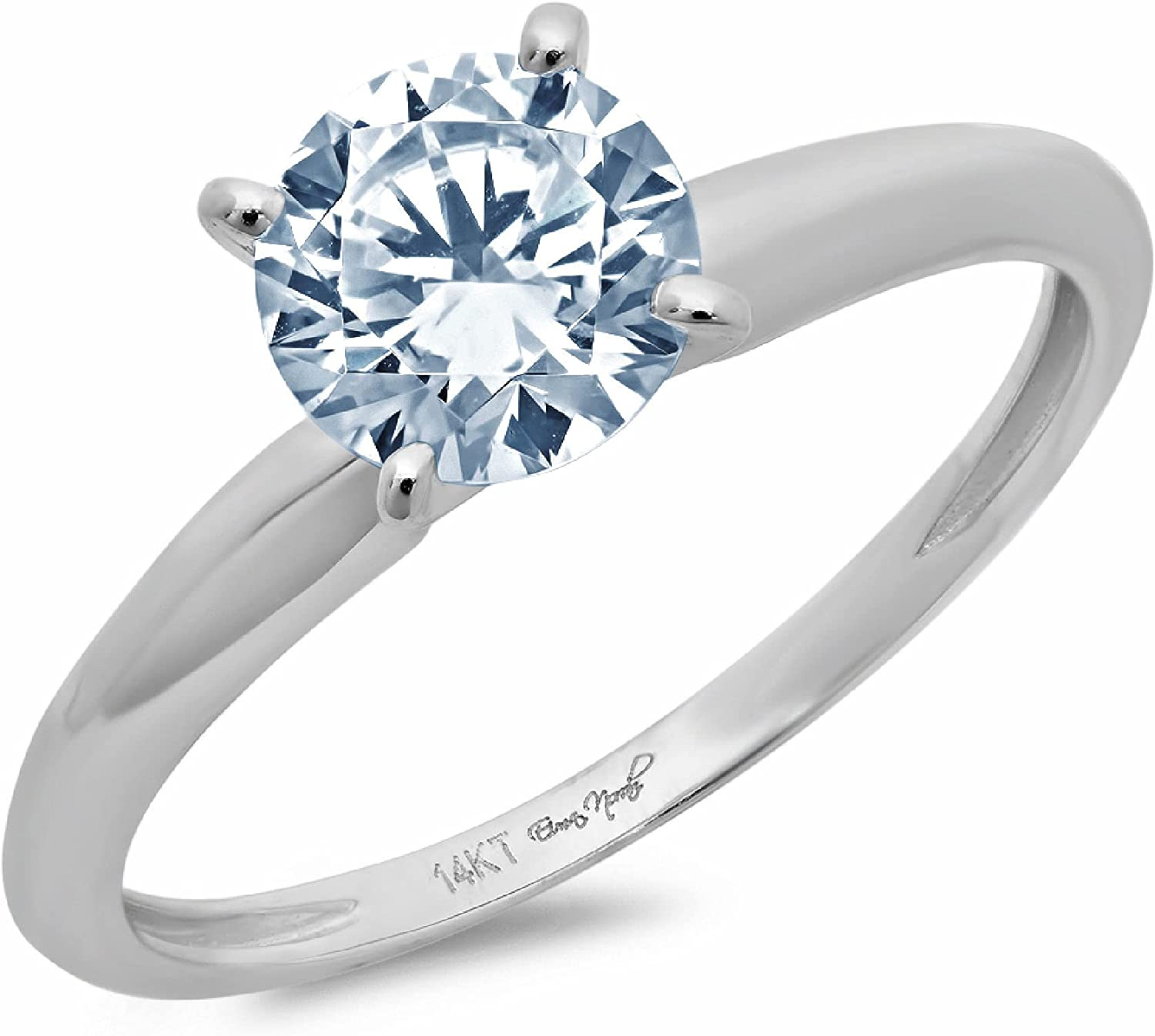 2.4ct Round Cut Solitaire Designer Genuine Natural Sky Blue Aquamarine Excellent VVS1 4-Prong Engagement Wedding Bridal Promise Anniversary Ring Solid 14k White Gold for Women