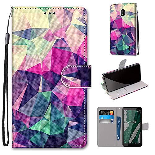 i-Hülle Handy Schutzhülle Kompatibel mit Nokia 1 Plus Handyhülle Phone Hülles PU Lederhülle Brieftasche BookStyle Etui Handytasche Wallet Kartenfach Flip Tasche für Nokia 1 Plus,Farbiger Diamant