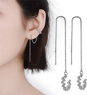 925 Sterling Silver Tassel Earrings Silver Wave Cuff Earrings Wrap for Women Threader Earrings