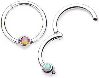 16G Opal Centered Stainless Steel Hinged Segment Ring for Septum, Nostril, Lip, and Ear Piercings