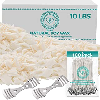 Hearts and Crafts Soy Wax and DIY Candle Making Supplies | 10lb Bag with 100 6-Inch Pre-Waxed Wicks, 2 Centering Devices