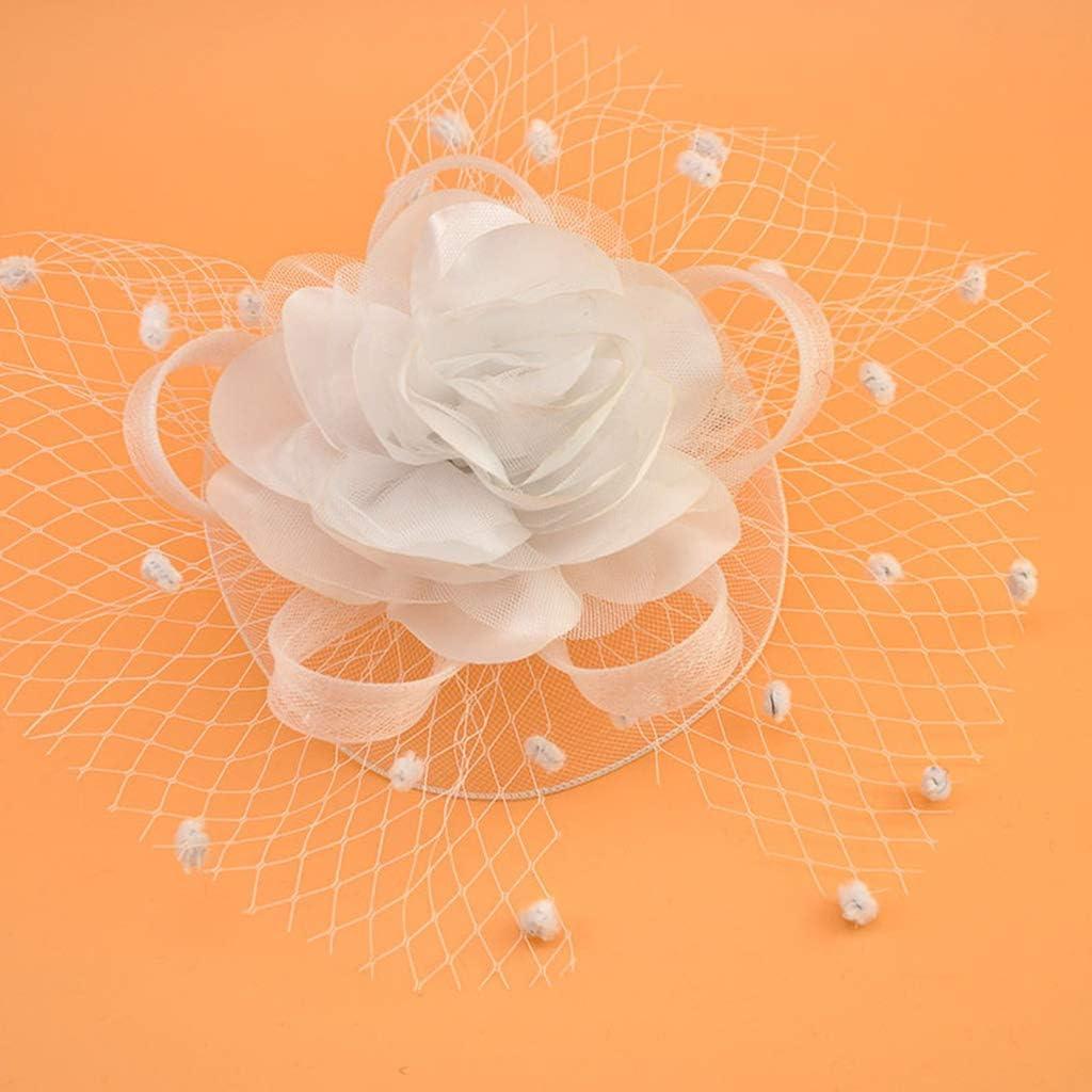 niumanery Womens Kids Girl Mesh Veil Hat Hair Clip Elegant Ribbon Big Flower Solid Color Fascinator Small Plush Wave Point Bridal Wedding Hairpins 17 Colors Purplish Red