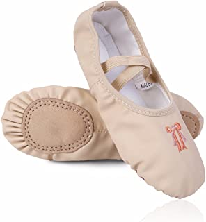 TiaoBug Kids Girls Ballet Slipper PU Leather Dance Gymnastics Yoga Shoes Split Sole Flats