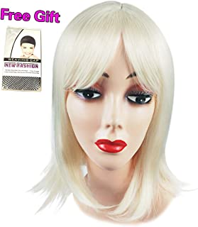 Uniyou Super Natural Women Short Bob Wig Straight Blonde Synthetic Heat resistant Hair Wig for Daily Use Costume Parties Halloween