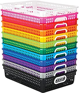 Really Good Stuff Classroom Paper Baskets – Set of 12, Rainbow Colors – Organize Folders, Papers, and More with Durable, Plastic Mesh Baskets – Easy to Clean, Nestable