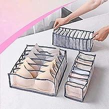 3Pcs Foldable Underwear Organizer, Closet Storage Boxes Drawer Organizer for Underware,Bra,Socks, Includes 6+7+11 Cell (Gray)