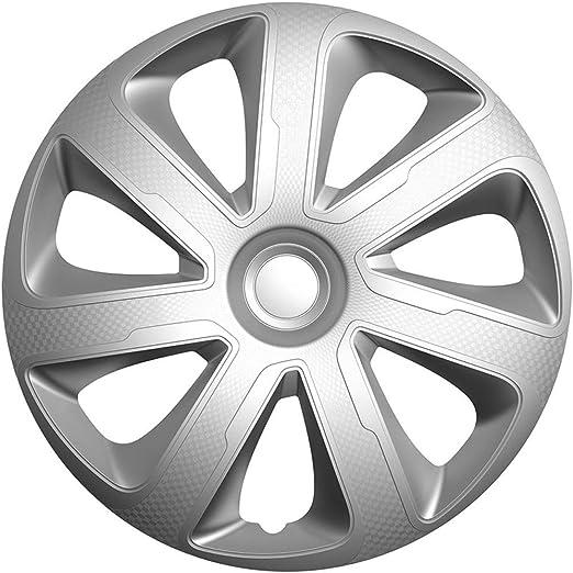 Satz Radzierblenden Livorno 16 Zoll Silber Schwarz Karbon Look Auto