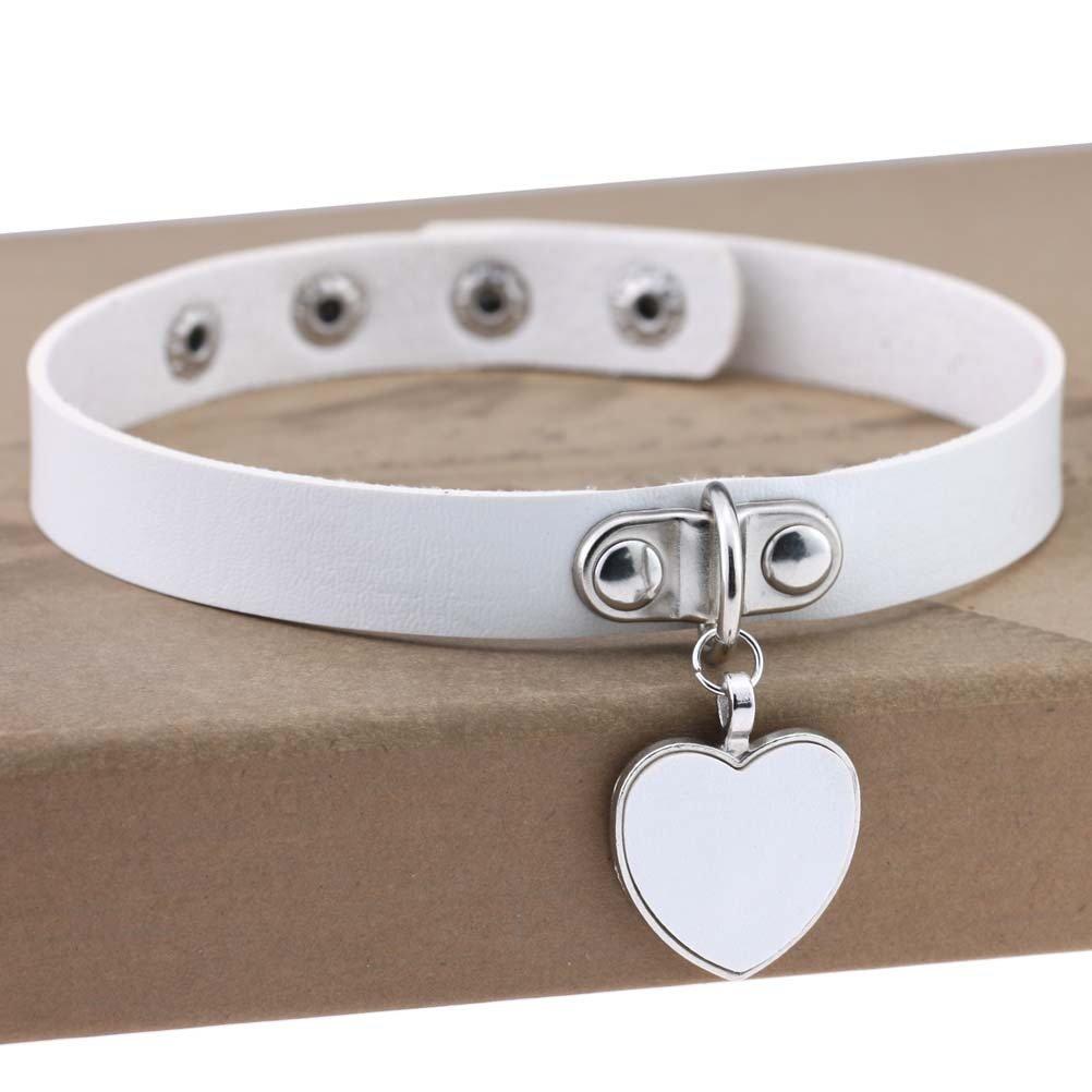 AKOAK Fashion Cool Rock Style Steampunk Punk Goth Heart-Shape Pendant Link PU Leather Collar Choker Necklace(White)