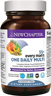 New Chapter Multivitamin for Men 50 Plus - Every Man's One Daily 55+ with Fermented Probiotics + Whole Foods + Astaxanthin...