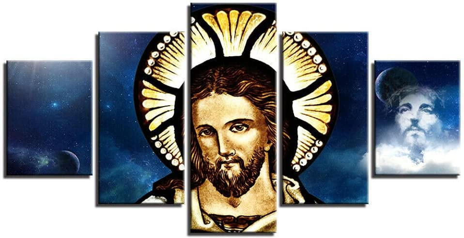 5 Piece Canvas Wall Art Jesus Poster Sale Panel Genuine Lord