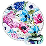 Feelingjoy Thick Round Beach Towel Blanket - Colorful Floral...