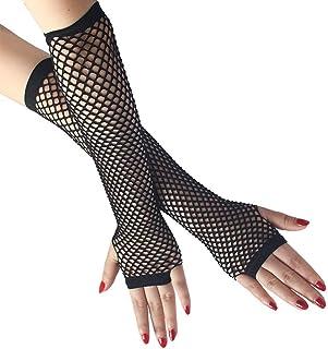 Fishnet Gloves Black Fishnet Long Gloves Party Accessory Black Nylon Fingerless Fishnet Gloves Hollow Fishnet Gloves 1920s...