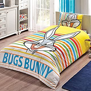 Bekata Bugs Bunny Bedding Set, Single/Twin Size Kids Quilt/Duvet Cover Set with Fitted Sheet, Made in Turkey, COMFORTER INCLUDED (4 PCS