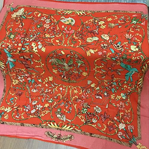 MLDSJQJ Schal-Frauen-Schal-Handrollen-Druck-große Hijab-Schals 140 * 140Cm quadratische Schal-Halstuch-Schals für Damen,Orange,140X140cm