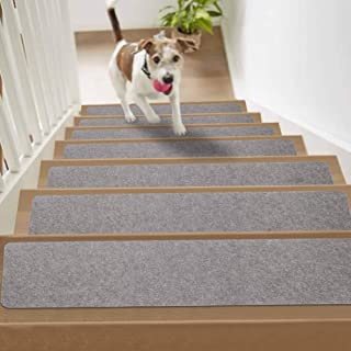 """YESURPRISE Stair Treads Carpets Non Slip, 8"""" x 30 Set of 13, Self Adhesive Stair Runners for Wooden Steps, Safety for Kids, Elders and Pets– Indoor Outdoor (Light Gray)"""