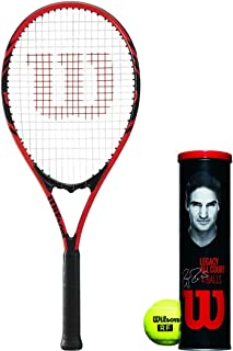 Wilson Federer Adult Prestrung Black/Red Tennis Racquet Kit or Set Bundled with (1) Can of 4 RF Legacy Tennis Balls