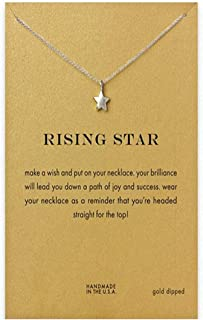 Yuanhua Women Necklaces Sterling Silver Star Pendant Gold Plated Necklace Jewellery for Ladies Girls