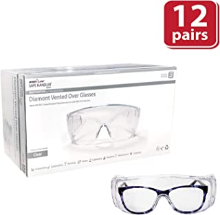 SAFE HANDLER Diamont Vented Over Glasses 12 PAIRS   Meets ANSI Z87.1, Impact Resistant Polycarbonate Lens, 99% UV Protection (1 box/12 Pairs)