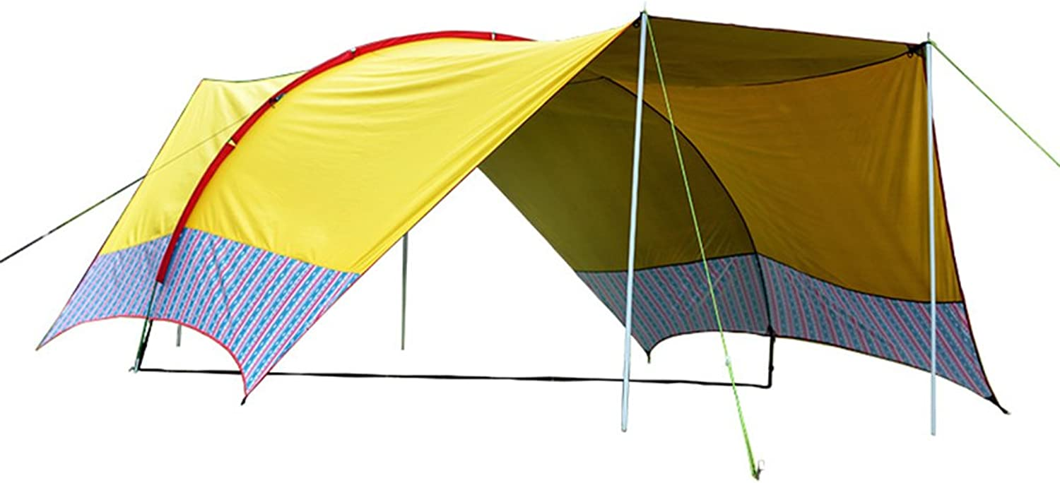 MultiPerson Outdoor Awning Beach Awning Adventurer Camping Tent Sun Predection rain shelter 1015 People (color   Yellow)