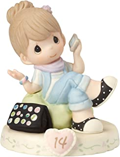 Precious Moments 162013B Growing In Grace, Age 14, Bisque Porcelain Figurine, Brunette Girl