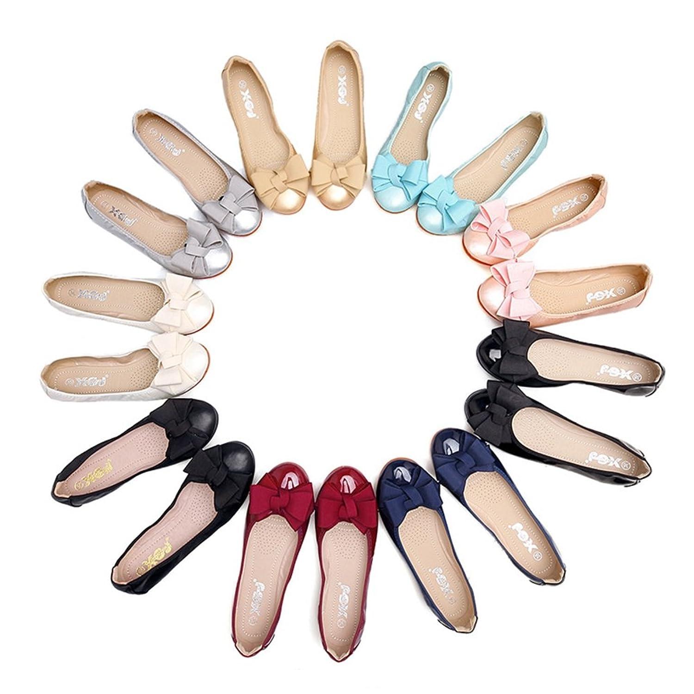 [ジョイジョイ] 全9色 ペタンコ靴 パンプス 婦人靴 レディース 大きいサイズ 妊婦 バレエシューズ リボン 蝶結び付き 可愛い フラット 歩きやすい ドライビング 折りたたみ ローヒール