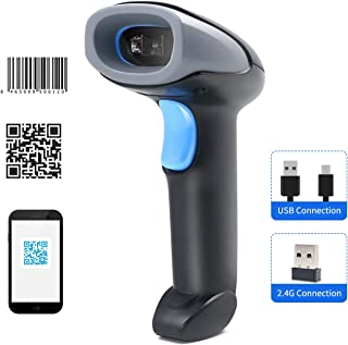 Handheld Barcode Scanner 1D/2D/QR Code Scanner 2.4G Wireless & USB Wired Bar Code Reader Compatible with Windows Android M...