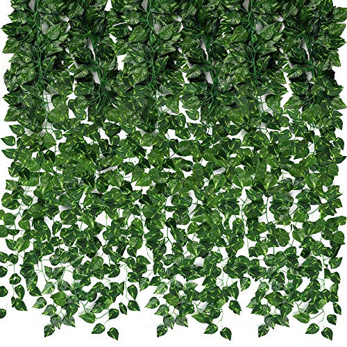 CEWOR 24 Pack 173ft Fake Vines for Hanging Decor Artificial Greenery Garland Fake Leaf Vines Hanging Plants Greenery Wall Backdrop for Home Bedroom Wedding Decoration Jungle Theme Party Supplies