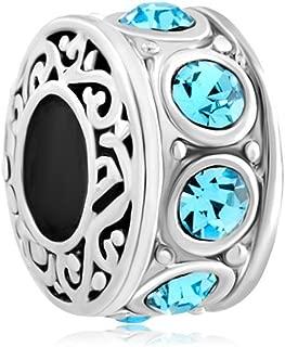 Filigree Aquamarine Blue Crystal Birthstone Beads For Bracelet