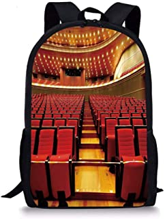 School Bags Musical Theatre Home Decor,China National Grand Theater Hall Chairs Auditorium Image,Red Light Brown for Boys&Girls Mens Sport Daypack