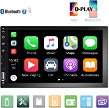 Camecho Double Din Car Stereo 7'' 1080P HD Touch Screen D-Play Universal Car Multimedia Player Support Android and iOS Mirror Link with Bluetooth/FM/USB/AUX/RCA/Rear View Camera Input