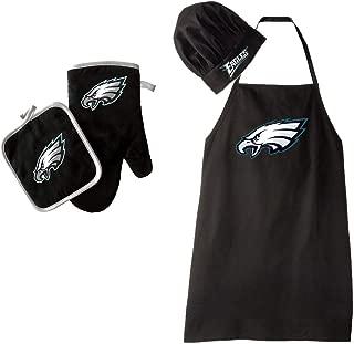 NFL Philadelphia Eagles Team Logo Barbeque Apron, Chef's Hat and Pot Holder Deluxe Set