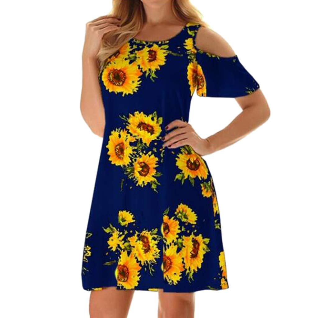 Available at Amazon: haoricu Women Mini Dress Off Shoulder Short Sleeve Sunflower Tunic Dress Girls Swing T-Shirt Loose Dress
