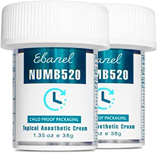 Best Ebanel 5% Lidocaine Topical Numbing Cream Maximum Strength, 2-Pack of 1.35 Oz, N520 Pain Relief Cream Anesthetic Cream Infused with Aloe Vera, Vitamin E, Lecithin, Allantoin, with Child Resistant Cap Review