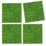 4 Stück Kunstrasen Gras, Miniatur Garten Gras Gras Dekoration, Kunstrasen Simulation Gras, DIY Puppenhaus Garten Ornament (5,9 x 5,9 Zoll)