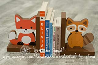 Fox and Raccoon Wooden Bookends - Custom Created (Echo bookends, woodland animals, brown)