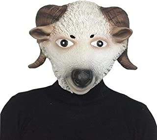HNIWDJ Halloween Latex Cute Sheep Head Mask Animal Headgear Performance Headdress Masquerade Show Props (Color : Sheep, Size : One Size)