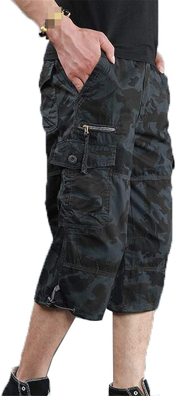 Yiqinyuan Summer Men's Baggy Multi Pocket Military Cargo Shorts Male Cotton Khaki Tactical Shorts Short Pants Camouflage XXL