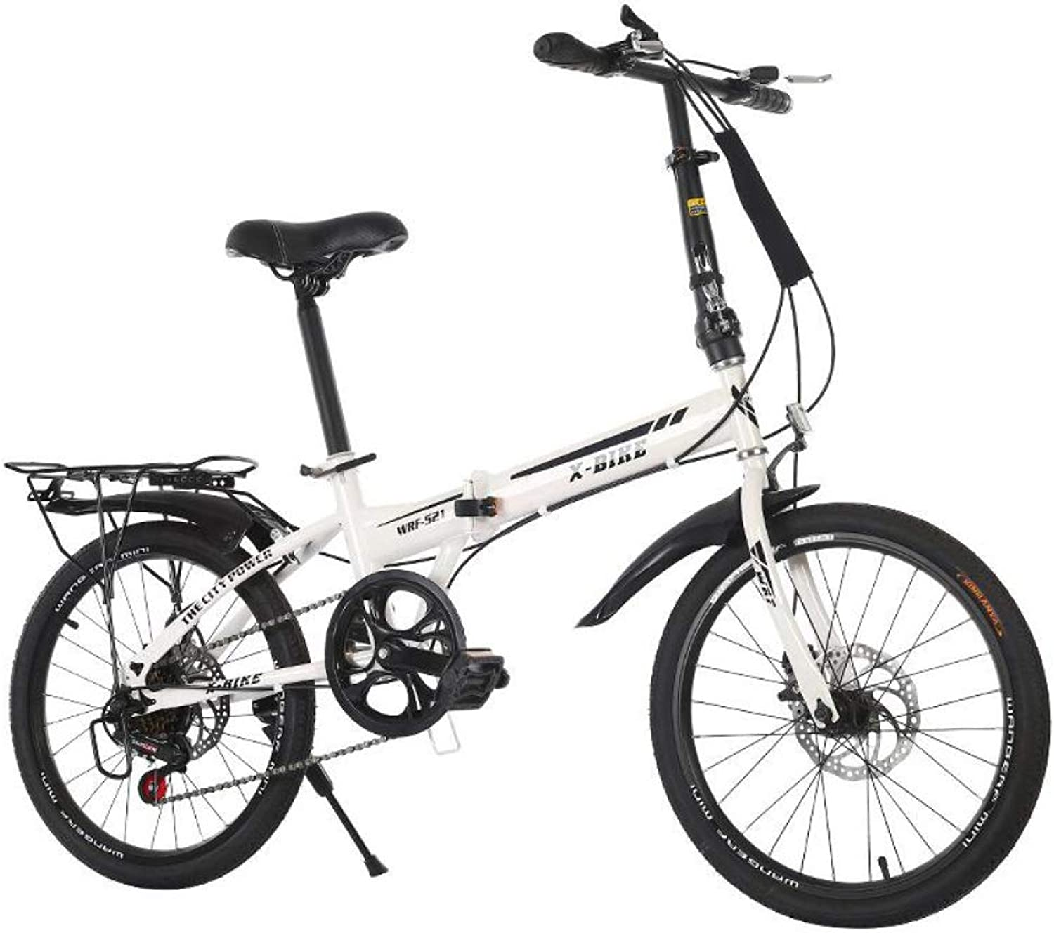AOHMG Folding Bike Adult Lightweight Folding Bicycle, 6Speeds Derailleur Comfort Saddle