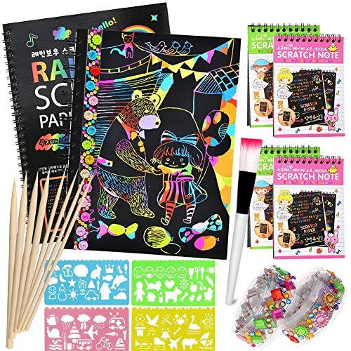 Giochi Creativi bambini,specool Scratch Art Notes per Bambini, Blocco da Disegno Arcobaleno Scratch Paper con 8 Penne Stilografiche in Legno e 4 Righelli da Disegno per Disegni, Giochi e Scrittura
