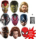 Marvel's Marvel Avengers Age of Ultron ultimative Superheld Packung von 8 Karte / Pappe Partei Maske...