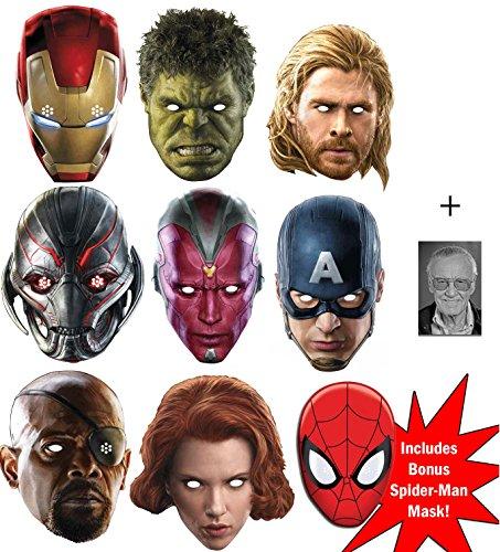 Marvel's Marvel Avengers Age of Ultron ultimative Superheld Packung von 8 Karte / Pappe Partei Maske (Iron Man, The Hulk, Black Widow, Nick Fury, Vision, Ultron, Thor und Captain America) + Bonus Spider-Man Maske und Enthält 6X4 (15X10Cm) starfoto