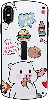 IPLUS iPhone 8 Plus / 7 Plus Case Cute Cartoon Character Oval Soft Silicone TPU Shell Dinosaur Hippo Pig Animal Pattern with Ring Strap Shock Absorber Cover (Burger Pig, iPhone 8 Plus / 7 Plus)