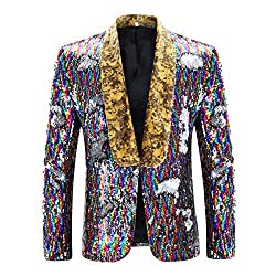 Picture Color 3 Slim Fit Shiny Sequin Blazer