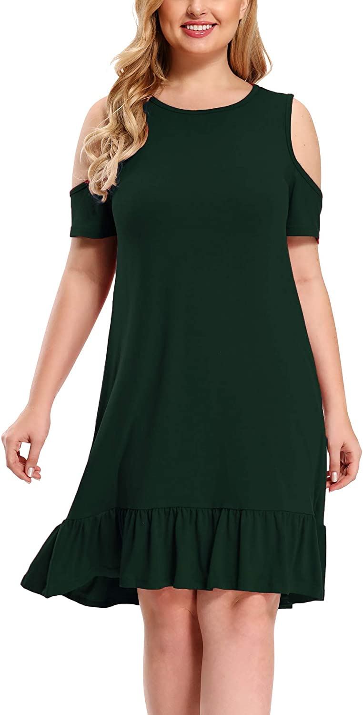 BEDOAR Women's Ruffle Sleeve V-Neck Jersey Knit Plus Size Casual Swing Dress