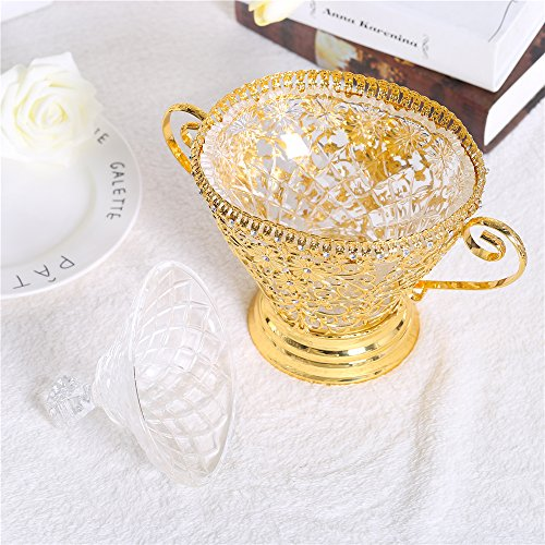 Vintage Gold Crystal Bowls Decorative Centerpieces Compote Salad Bowl with Lids Handles & Pedestal Vase Base Decor Crystals Retro Flower Carving Metal Server for Fruit,Dessert on Wedding Parties