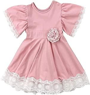 2Bunnies Girl Flutter Ruffle Sleeve Vintage Lace Trim A-Line Princess Swirl Dress